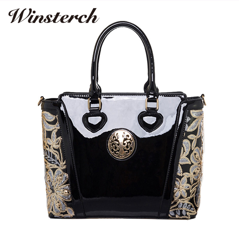 Emboridery Women Bag Luxury Patent Leather Handbag Flower Printing Shoulder bag Crossbody Female Clutch Handbag Sac A Main S038 patent leather handbag shoulder bag for women