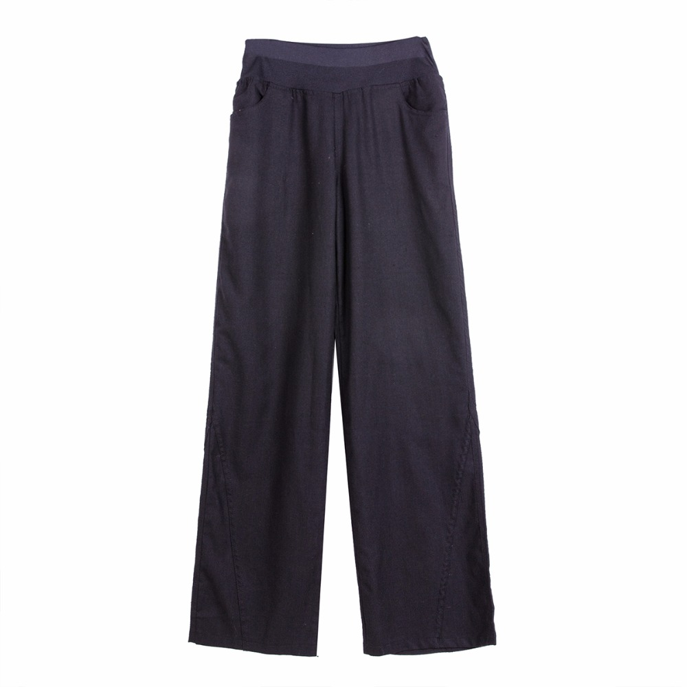 Better fabric Spring Linen   Pants   Elastic waist   wide     leg     pants   casual   pants   straight   pants   loose bell-bottom trousers #2013