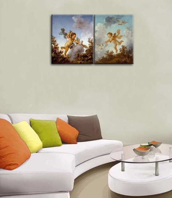 Classical little angels art Colorful Modern picture painting 2 pieces printed on canvas as a set for home decor 2pcs