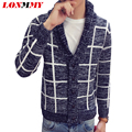 LONMMY M-2XL Plaid sweater men Knitted cardigan men Imported-clothing Christmas sweater cardigans Casual coat Lapel collar 2016