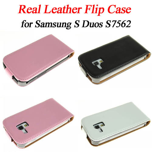 Real leather magnetic vertical flip cover/case/protector for samsung galaxy S Duos S7562, 3 color ,free shiping