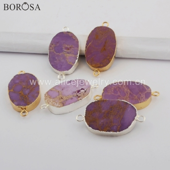 BOROSA 10PCS Irregular Muscovite Sugilite Connector New Arrival Natural Stone Connectors G1749