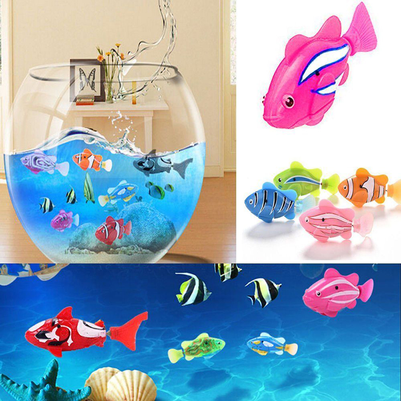 Electronic Robofish Animals Swimming Water Toys Battery Powered Electric Induction Floating Robo Fish Toy Kids Baby Bath Toy 6 color funny water electronic robo fish activated battery power robo bath toy fish robotic pet for fishing tank decor fish toy