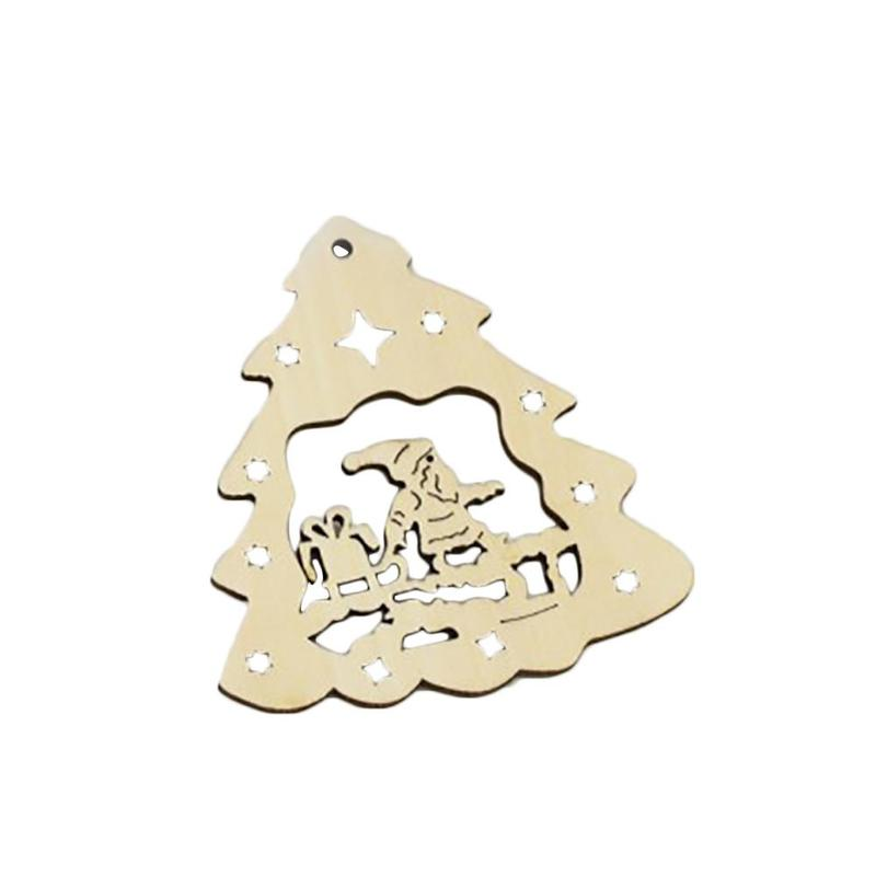 5pcs/set Christmas Santa Claus Laser Cutting Wooden Christmas Tree Decoration Festival C ...