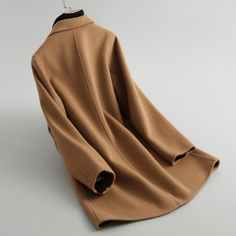 Manteaux Abrigo Ayunsue Couleur Laine Wyq1421 Mujer Camel Femmes Femelle Casual Double Manteau Veste 38059 côté D'hiver Automne Chameau nwPN0m8Ovy