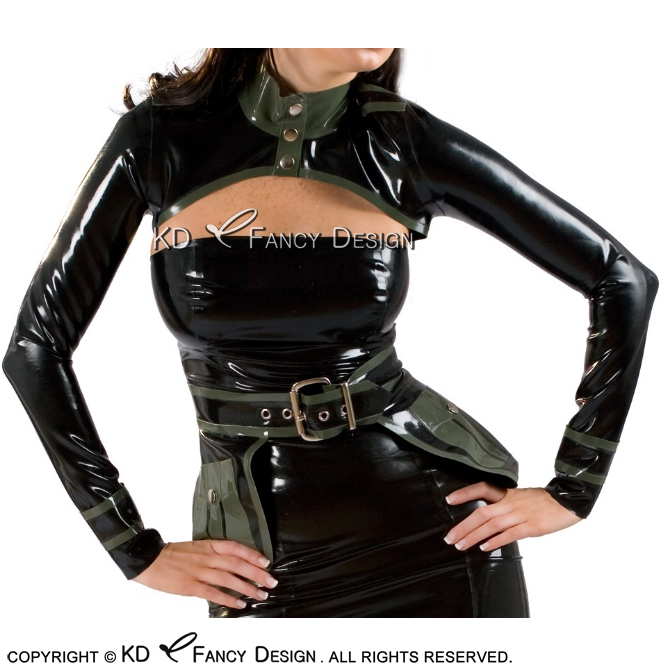 Olive Green With Black Sexy Short Militay Latex Crop Top Bolero With Rubber Belts Long Sleeves Fake Pocket YF-0054