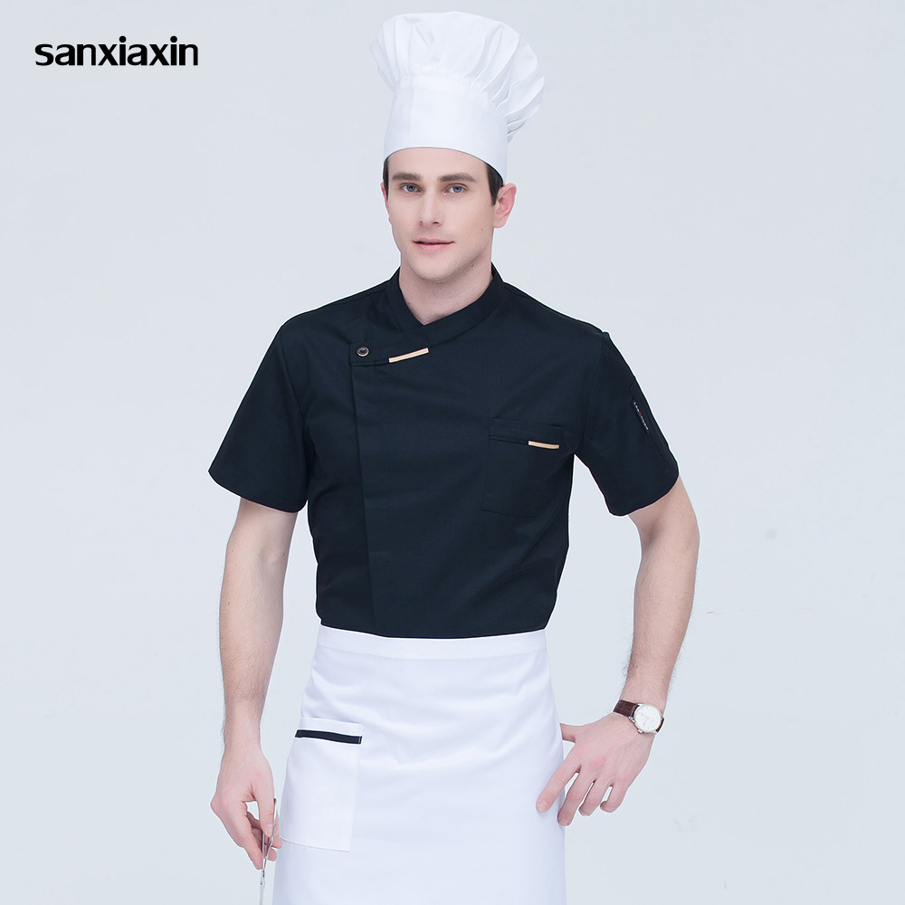 Sanxiaxin Food Service Chef Uniform High Quality Short Sleeved Jacket Catering Restaurant Chef Coats Unisex Kitchen Shirt