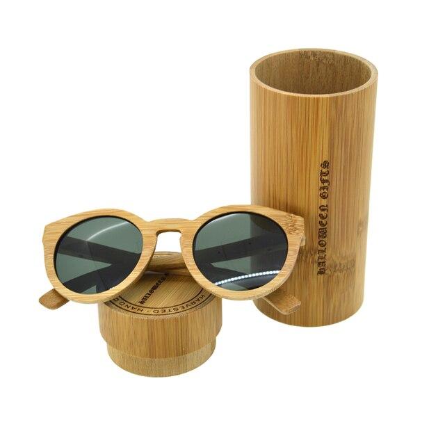 HALLOWEEN GIFTS Vintage Bamboo Sunglasses Men/Women Green Glasses Polarized Round Lens Protection Eyewear Sunglasse G002A