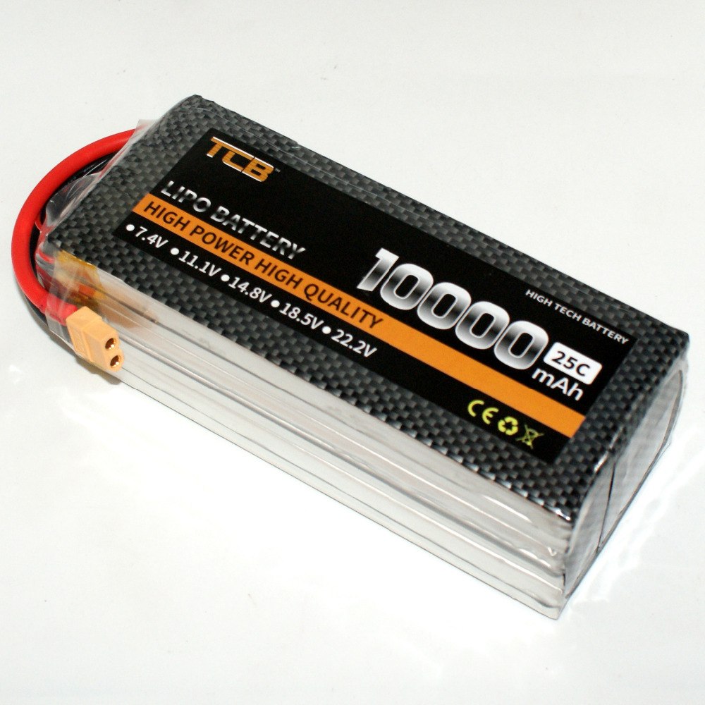 TCB RC LiPo Battery 4S 14.8V 10000mAh 25c for RC Airplane Helicopter Drone Car Boat 4s Batteria Free Shipping mos 4s 14 8v 5200 25c lipo battery for rc airplane free shipping