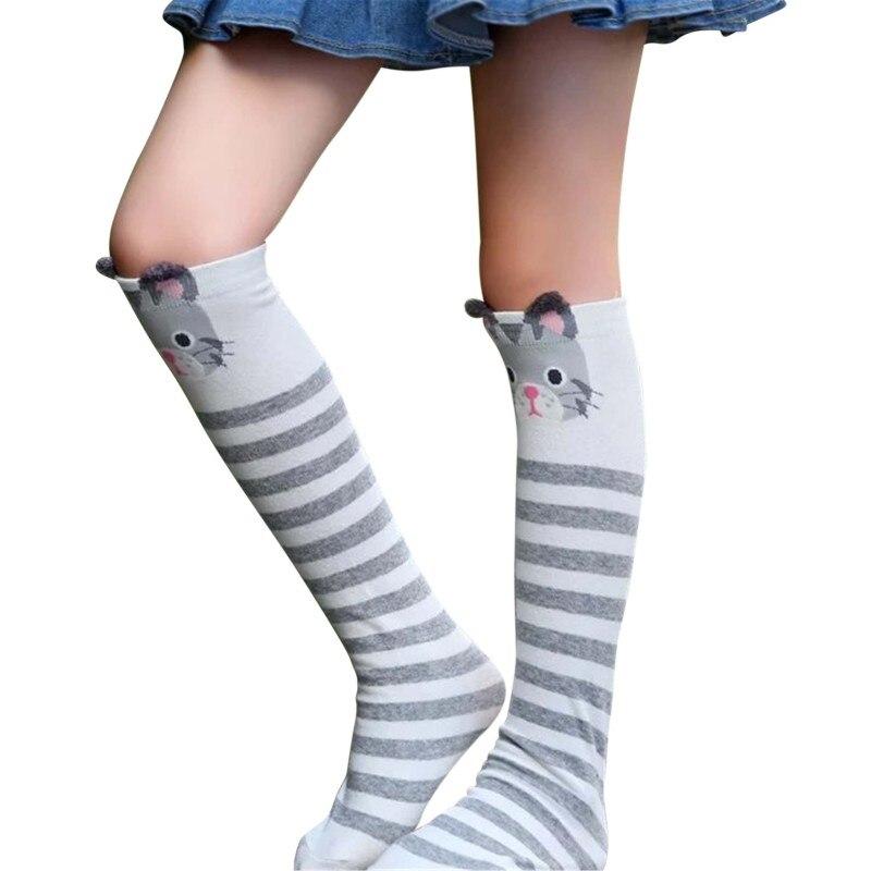 Kinder Mädchen Beinlinge Cartoon Baby Mädchen Jungen Kniestrümpfe Mode Gestreift Dot Gedruckt Rohr Socken 3y-12y