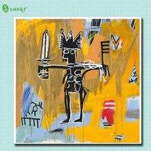 2016 gemälde Druck Malerei Jean Michel Basquiat Untitled Julius Caesar Auf Gold Dekoratives Wandkunst Bild Wohnzimmer