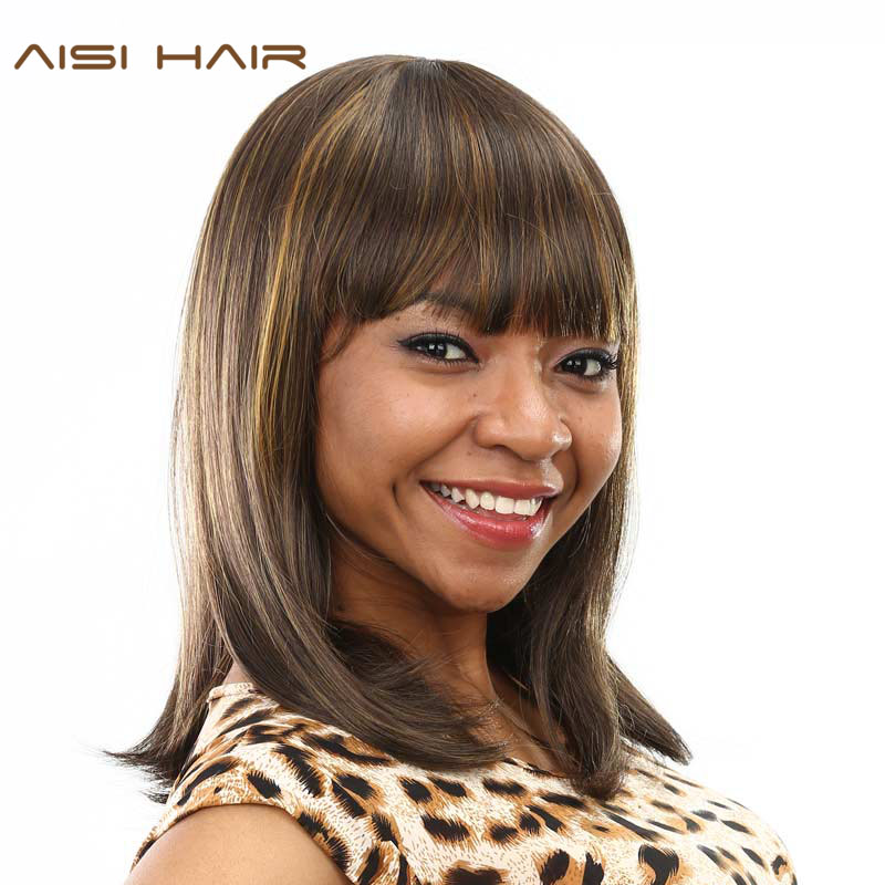 AISI HAIR Synthetic Wigs For Black Women Short Straight Brown Hair With Neat Bangs Hairstyles