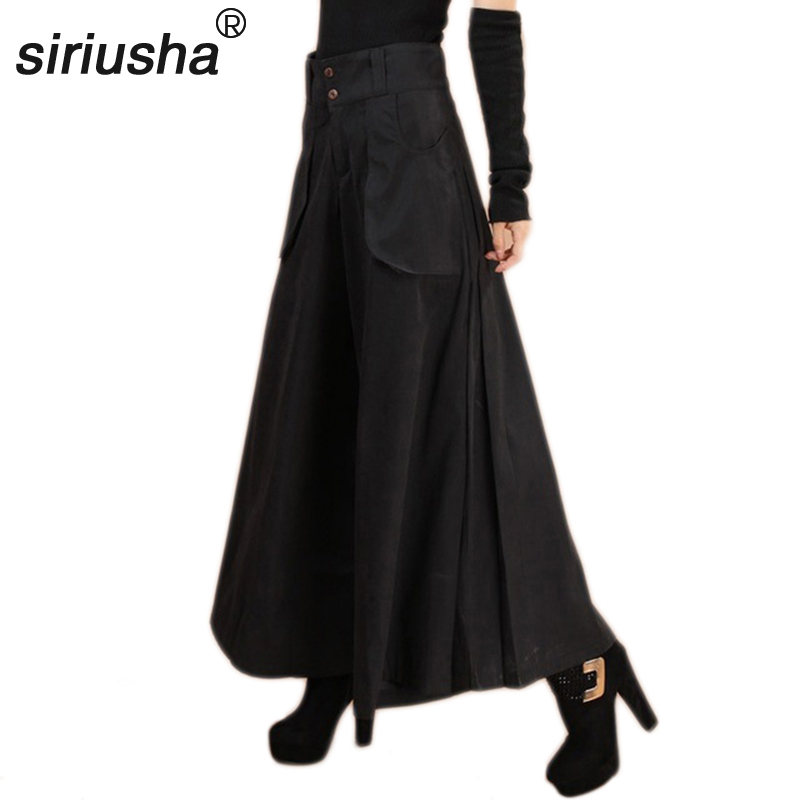 Wide     Leg     Pants   Autumn and Winter   Pants     Leg     Wide   Thickening Casual   Pants   Plus Size Culottes Women Feet   Wide   trouser S63