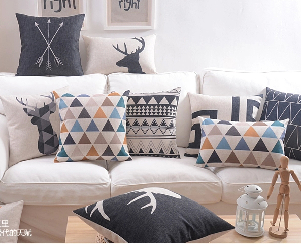 Nordic Minimalism Geometric Triangles Stripes Arrows Cushion Covers Deer Elk Stag Pillow Cover Sofa Linen Cotton