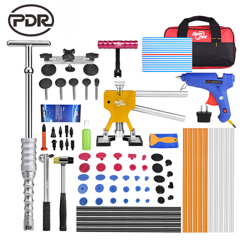 PDR Tools kit Dent Removal Paintless Dent Repair Tools Reflector Board Dent Puller Slide Hammer Suckers Glue Tabs Tool Sets classic faux twinset color block slimming shirt collar long sleeves men s casual t shirt