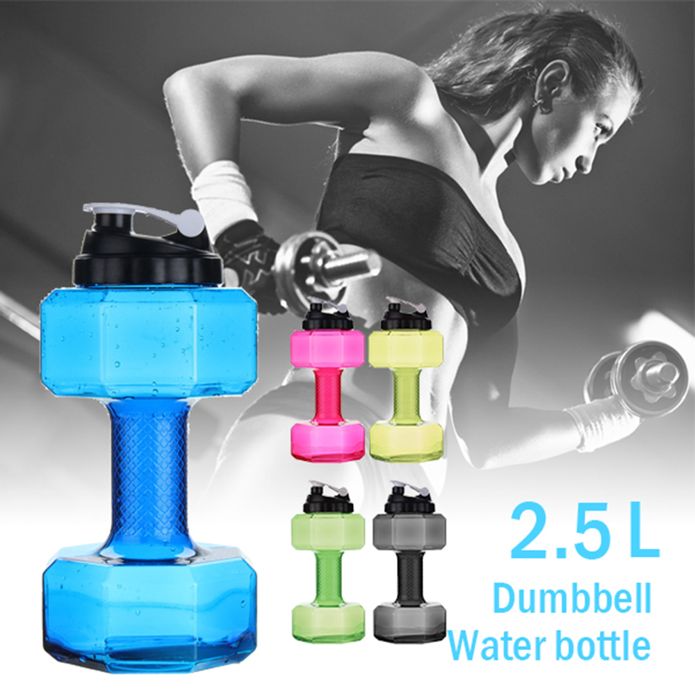 2.2l Dumbbell Shape Plastic Large Capacity Gym Sports Hydro Flask Water Container Outdoor Fitness Bike Camping Cycling Water Bag