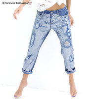 A Forever 2018 Spring Women Loose Straight Metallic embroidered Beads Sequins Holes Denim Pants Beads Casual Holes Jeans M 693