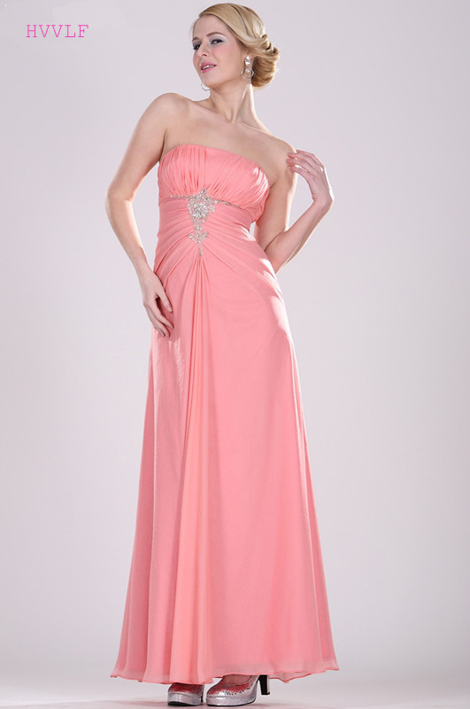 Pink 2019 Cheap   Bridesmaid     Dresses   Under 50 A-line Strapless Chiffon Beaded Long Wedding Party   Dresses