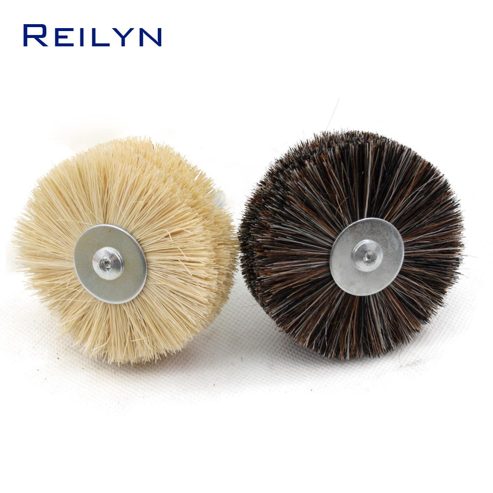 Sisal Fiber Brush Woodworking Polishing Horsehair Fiber Mop Wheel Polishing Roller Shank 6mm For Electric Hand Drill Rotary Tool
