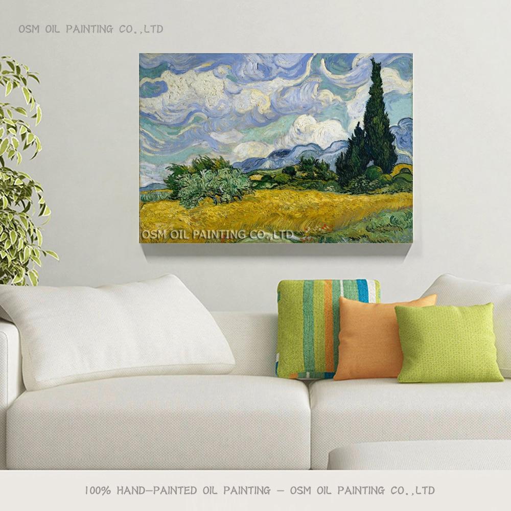 Kətan böyütmə üzrə Cyppress yağlı boya ilə əl ilə - Ev dekoru - Fotoqrafiya 2