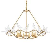 цены novelty modern pendant lights Creative glass bird living room bedroom bar pendant lamp gloden metal Indoor home hanging lighting