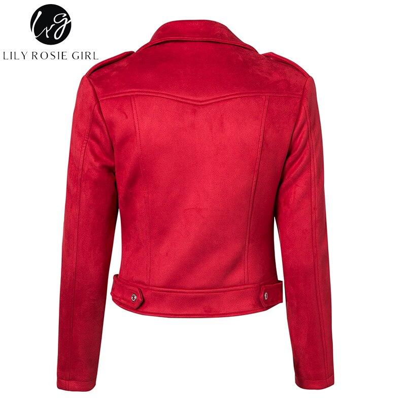 Lily Rosie Girl Casual Zipper Suede Leather Jacket Short Coats Autumn Winter 2017 Basic Jacket Women Outerwear Slim Streetwear