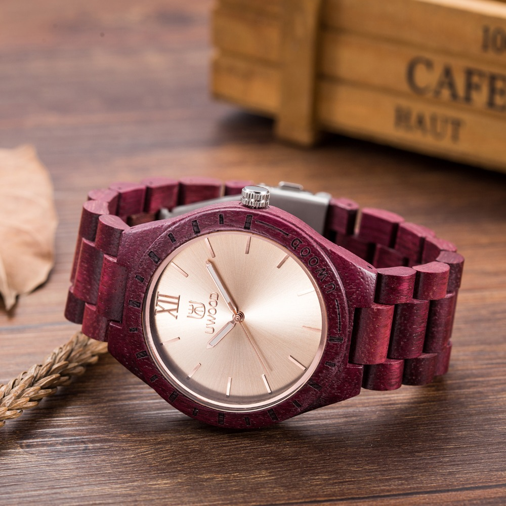 New Arrival Men's Purple Wood Wristwatch Classic Folding Clasp Quarzt Movement Wrist Watches with Wood Strap wooden watch men bobo bird brand new sun glasses men square wood oversized zebra wood sunglasses women with wooden box oculos 2017