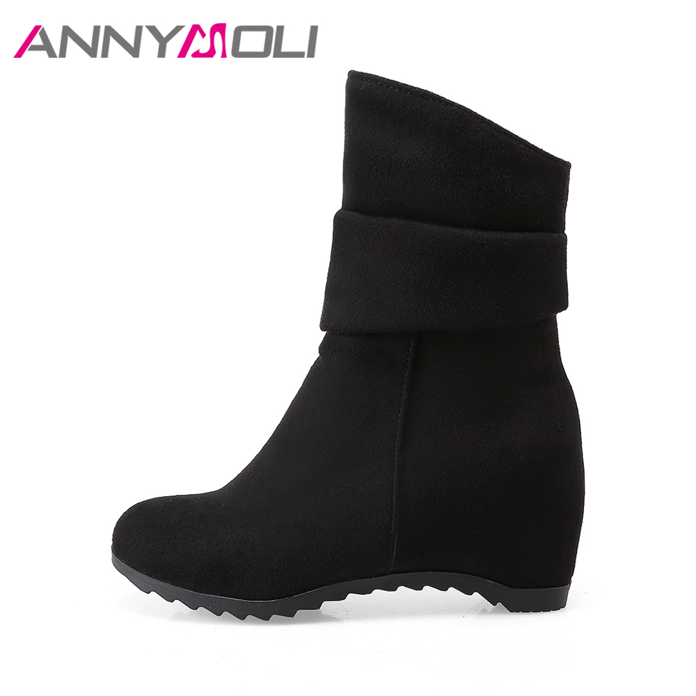 Genuine Leather Women's Round Toe Wedge Heel Platform Handmade Ankle Snow Boot with Fur
