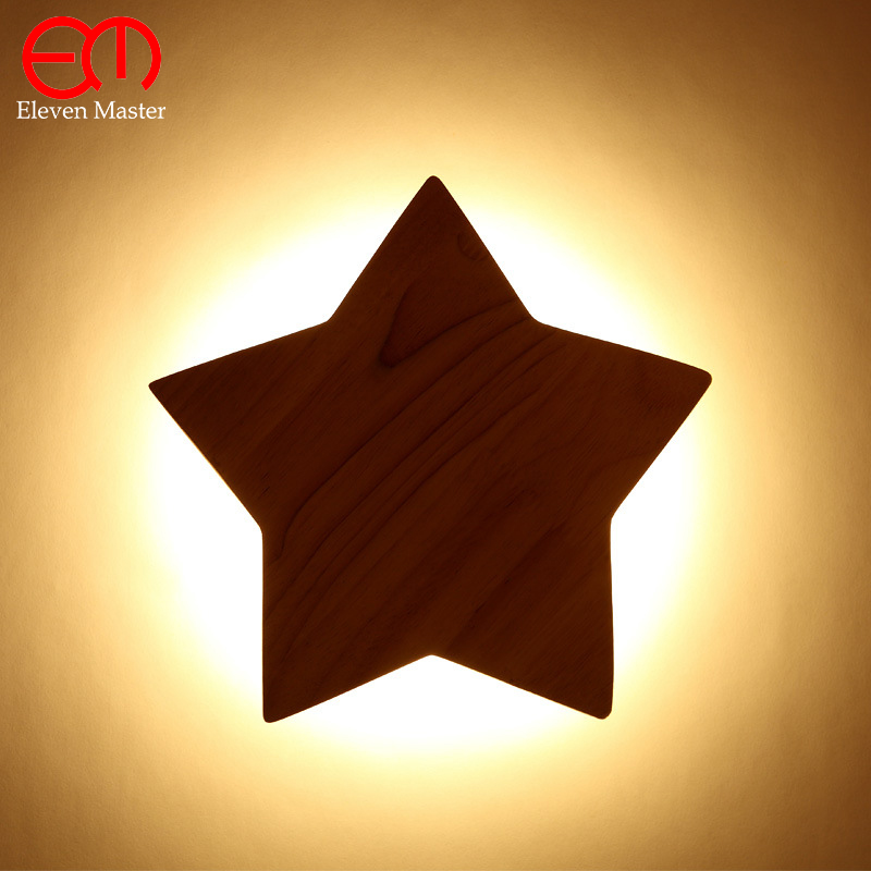 Nordic corridor Solid wood wall light creative wooden art study lamp modern led star children wall lamp decoration lamp WWL002 zthand made professional craftsmen choose creative decoration children s imagination uniqueness teaching wood art set for kids