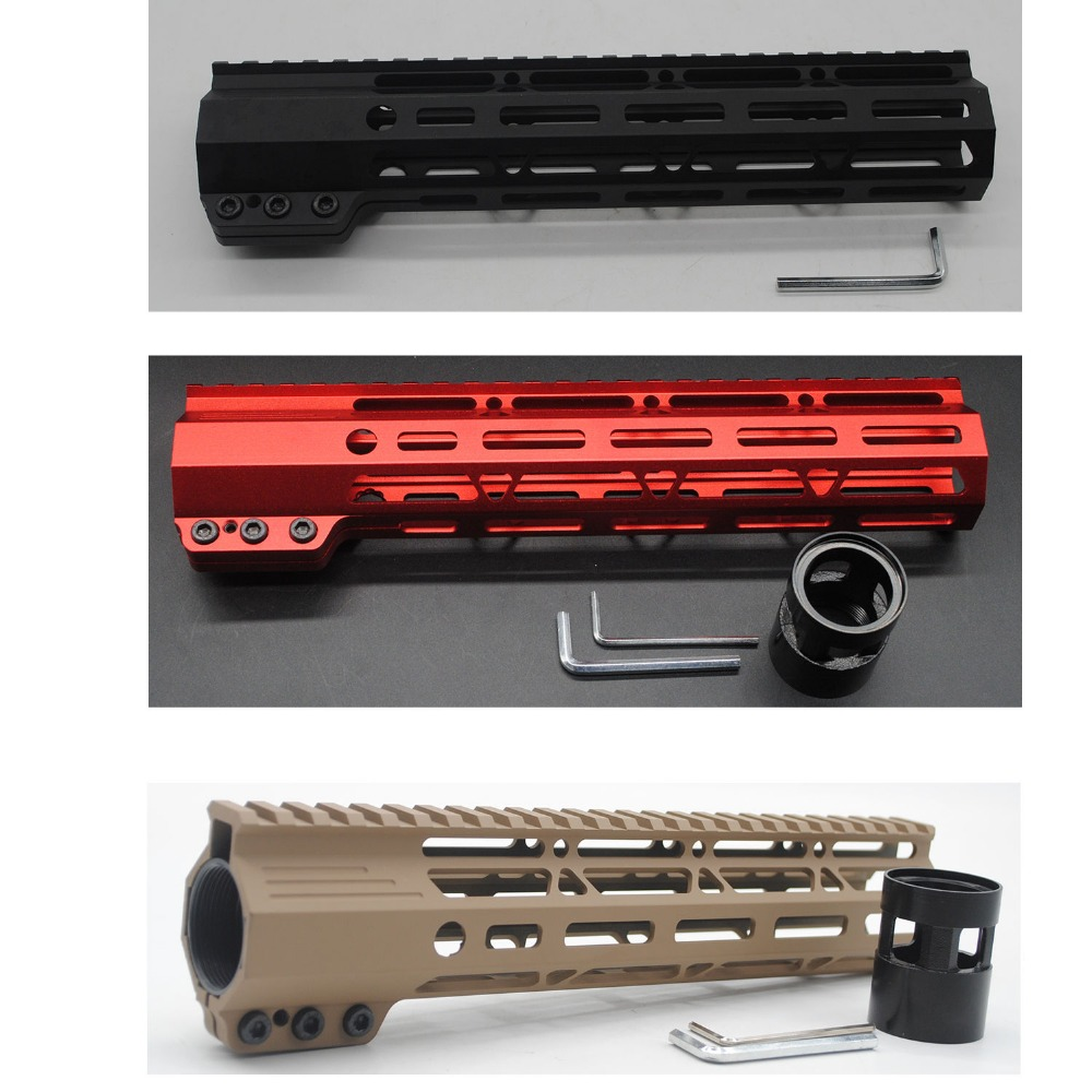 TriRock 10'' INCH BLACK/TAN/RED CLAMPING STYLE M-LOK HANDGUARD RAIL FREE FLOATING PICATINNY MOUNT SYSTEM FREE SHIPPING