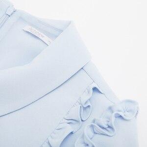 Image 5 - Metersbonwe şifon elbise kadın bahar kıyafet yeni stil mizaç sözleşmeli agaric kenar kısa kollu