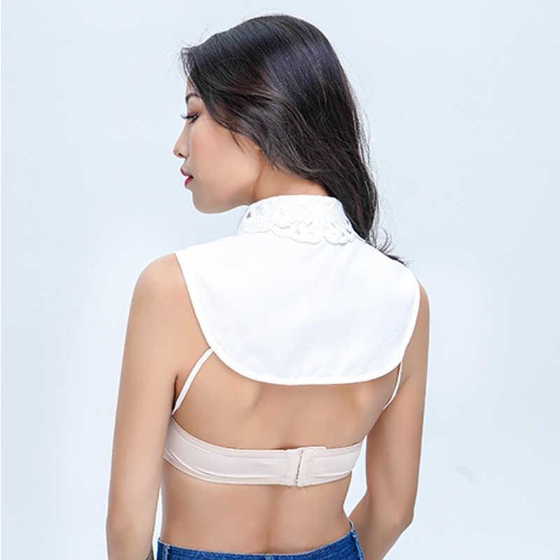 Простые Женские однотонные кружевные 2019 модные блузки со съемным отворотом колье ожерелье винтажное элегантное накладной воротник от рубашки