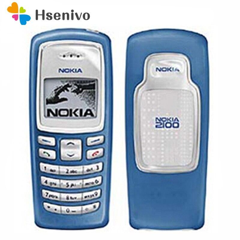 100% original desbloqueado nokia 2100 gsm 2g 680 mah barato remodelado barra de telefone celular frete grátis