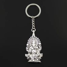 Drop Shipping Alloy Silver Ganesha Buddha Elephant Pendant Charms Keychain Bag Handbag Keyring Car Key Chain Souvenir Pendant