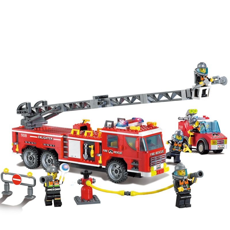 ENLIGHTEN City Police Rise Fire Truck Firemen Building Blocks Sets Bricks Model Kids Toys Gift For Boys Compatible Legoings kazi fire department station fire truck helicopter building blocks toy bricks model brinquedos toys for kids 6 ages 774pcs 8051