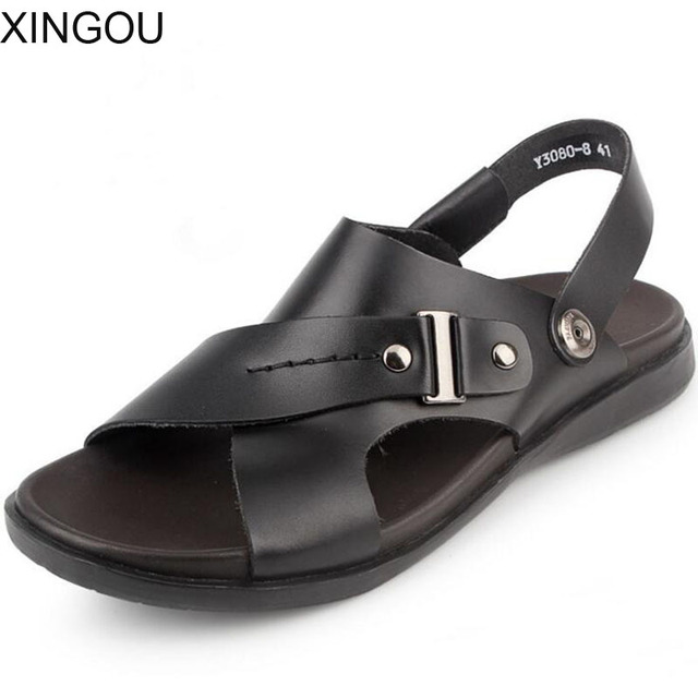 3298ac0083f0d Casual Genuine Leather male sandals Fashion 2018 sandals men beach shoes  Summer flat men sandals metal Slip-On slippers for men