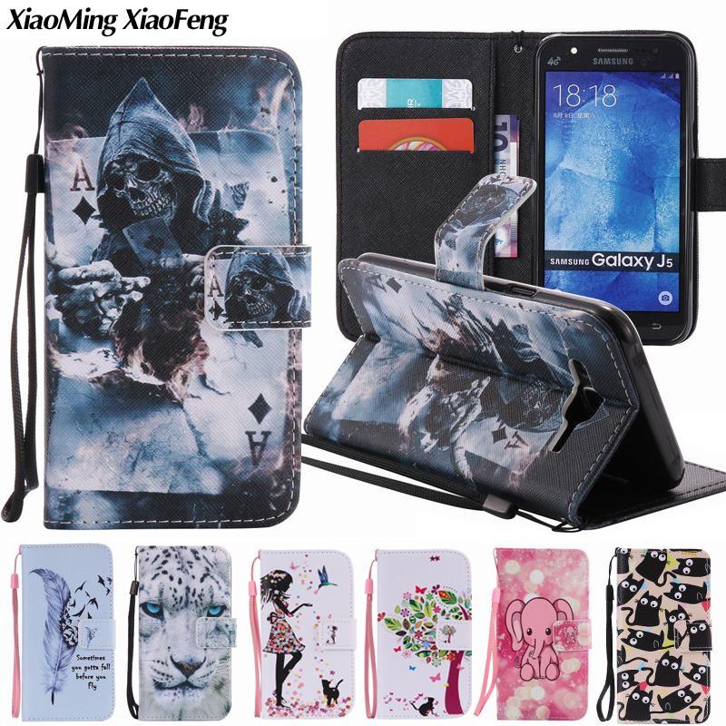 Galleria fotografica For Coque Samsung Galaxy J5 2015 Case Leather Silicone Flip Cover Phone Case For Samsung Galaxy J5 Case Luxury Wallet Cover J500
