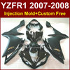 Persomalize Black Motorcycle Fairings For YAMAHA YZFR1 2007 2008 Injection Bodywork YZF R1 YZF1000 YZF 1000