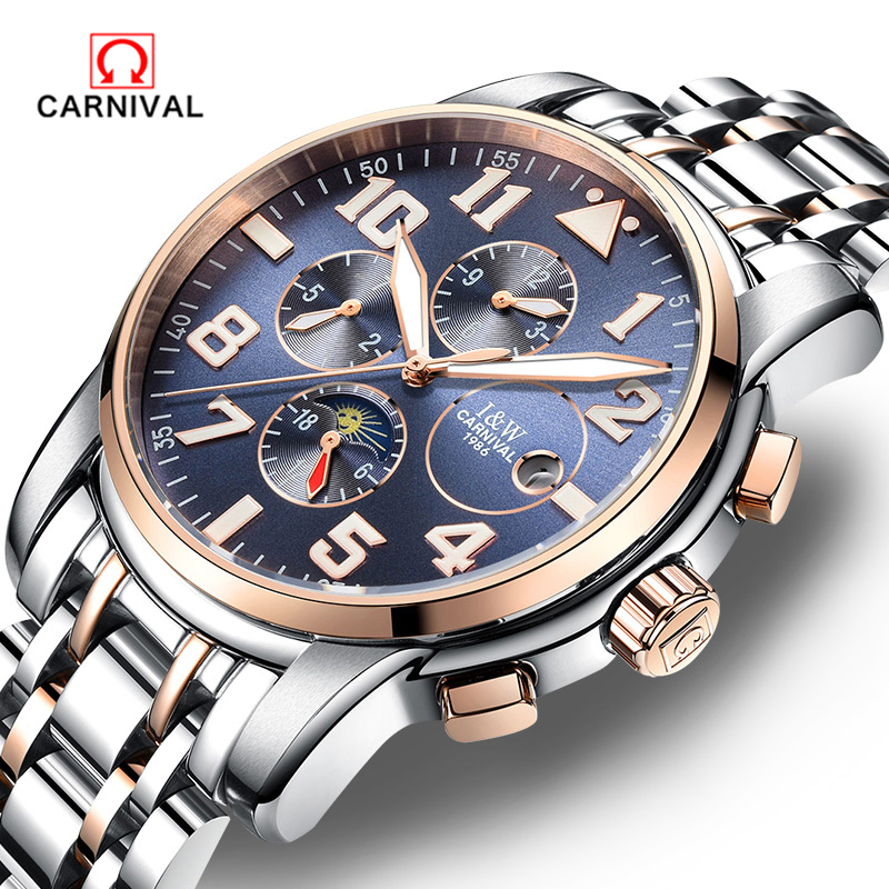 2018 Luxury Carnival Moon Phase Luminous Men Watch Male Stainless Steel Clock Mens Automatic Mechanical Watches Relojes Hombre carnival iw mens mechanical watches top brand luxury automatic watch men stainless steel moon pashe calendar clock reloj hombre
