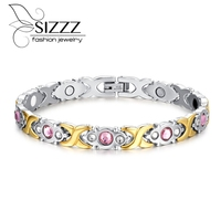 Hot Fashion Titanium Steel Bracelet Women Health Bracelet Insert Diamond Infrared Radiation Women Bracelet Jewelry