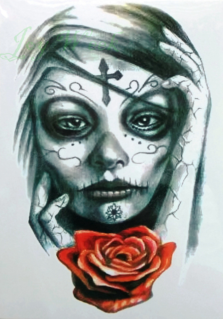 Waterproof temporary tattoo sticker big size enchantress witch women mexican skull tatto flash tatoo fake tattoos