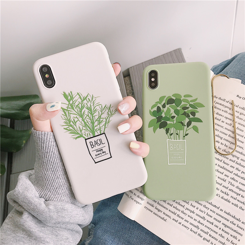 Cartoon Green Flowers Phone Case For IPhone 6 S 7 8 Plus Case Silicone Soft Candy TPU Cover Case For IPhone X XR XS MAX 6S Coque