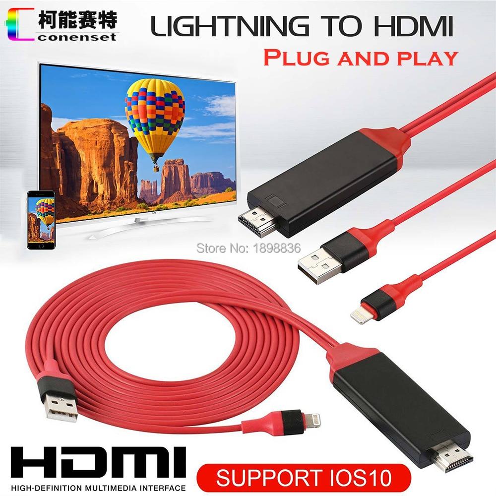 AirPlay 8 pin relámpago a HDMI HDTV AV Cable adaptador para iOS 10 11 iPhone X 5 SE 6 S 7 8 Plus iPad Air 2 favorable mini iPod