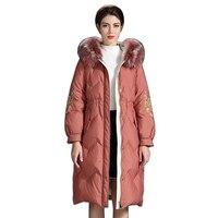 Women White Duck Down Coat Winter Fashion Style Women Casual Down Jacket warm Fur Collar Zipper Coat Hooded Parka Top Quality