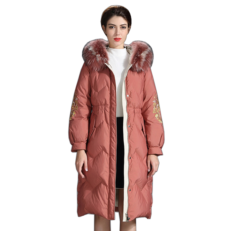Women White Duck   Down     Coat   Winter Fashion Style Women Casual   Down   Jacket warm Fur Collar Zipper   Coat   Hooded Parka Top Quality