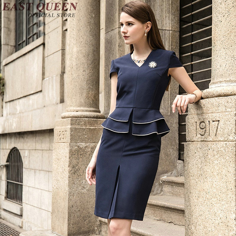 2018 New Arrival formal office dresses for women peplum top office uniform designs women elegant skirt suits KK1188 formal wear