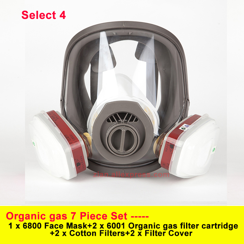 7 In 1 Gas Mask Acid Organic 6800 Full Face Mask Respirator Paint Chemical Pesticide Laboratory Dust Mask Matched With Filters