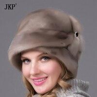 Из натуральной норки меховая шапка для женщин зима женский skullies ухо протектор Топ высокого качества теплые шапочки Россия стиль Шапки