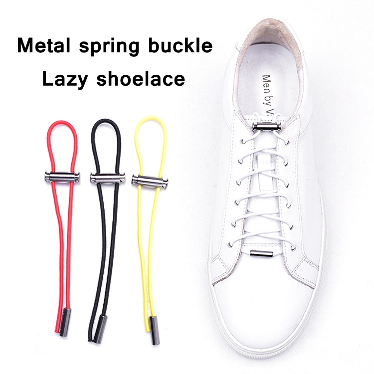 New Metal Lock Button Shoelace No Tie Shoe Laces Elastic Buckle Shoelaces Kids Adult Quick Lazy Sneakers Shoes Lace Shoestrings