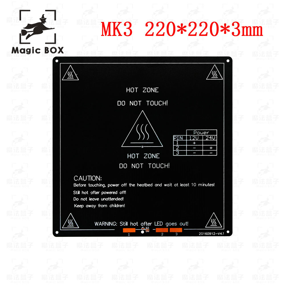 MK3 Mk2 Erhitzt Bett 12 v 24 v Teile Für Reprap Mendel Heißer Brutstätte 3D Drucker Teil 220*220mm Aluminium Platte 3mm
